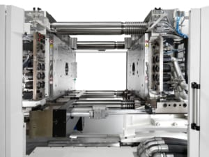 EAS Pressmag LP magnetic clamping systems with multicouplers installed in an injection molding machine